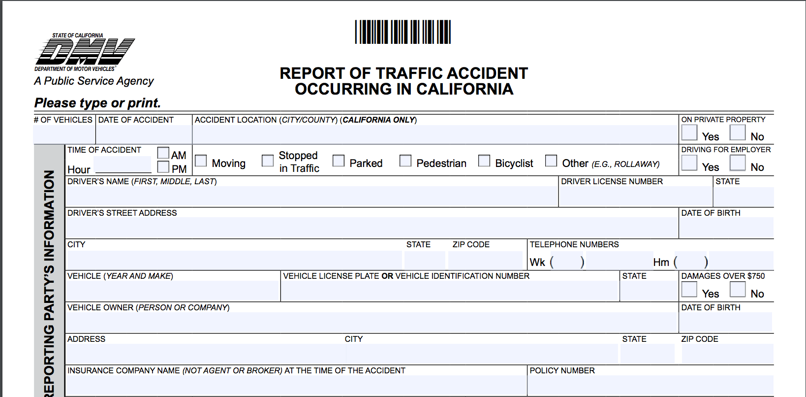 california department of motor vehicles accident report